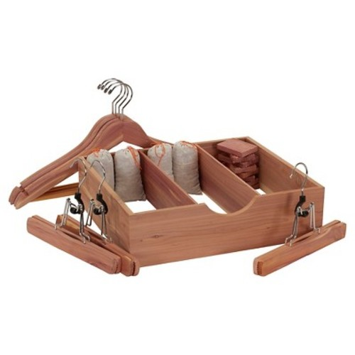 Household Essentials - 19 Pc Cedar Storage Accessory Set Deluxe - Natural