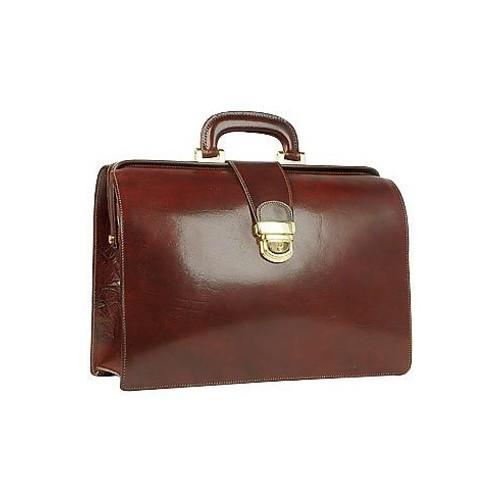 Dark Brown Italian Leather Buckled Medium Doctor Bag