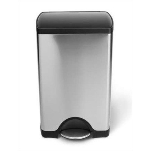 simplehuman Rectangular Step Trash Can, Stainless Steel, Plastic Lid, 38 L / 10 Gal [Brushed Stainless Steel With Plastic Lid]