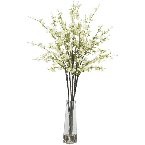 Cherry Blossoms with Vase Silk Flower Arrangement, White