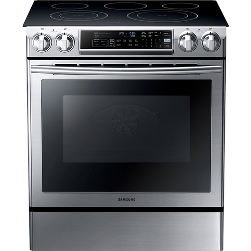 Samsung - 5.8 Cu. Ft. Self-Cleaning Slide-In Electric Convection Range - Stainless Steel