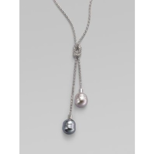14MM Grey and Nuage Baroque Pearl & Sterling Silver Lariat Necklace