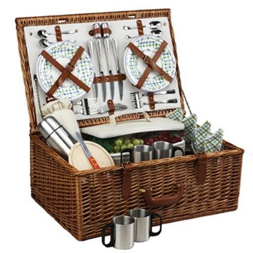 Picnic at Ascot Dorset English-Style Willow Picnic Basket with Service for 4 and Coffee Set - Gazebo [Gazebo]
