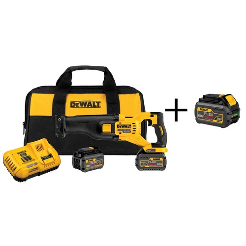 DEWALT FLEXVOLT 60-Volt MAX Lithium-Ion Cordless Brushless Reciprocating Saw with Batteries 6Ah, Charger and Bonus Battery 6Ah