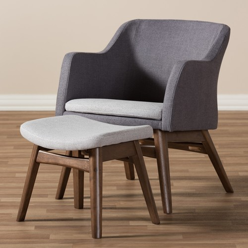 Baxton Studio Mid-Century Modern Arm Chair & Stool Set