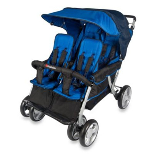 Foundations The Quad LX 4-Passenger Stroller with Dual Folding Canopy in Blue