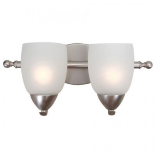 Yosemite 2-Light Vanity Light With Etched White Shade, Brushed Nickel