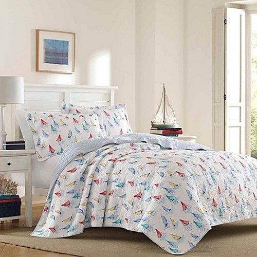 Laura Ashley Ahoy Bright Reversible Twin Quilt Set in Blue