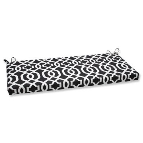 Pillow Perfect New Geo Outdoor Bench Cushion; Black / White