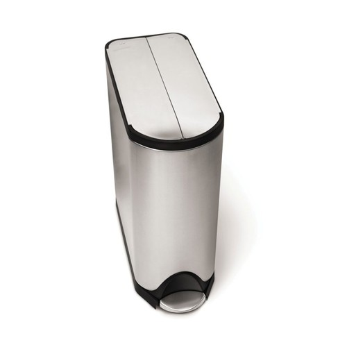 simplehuman Butterfly Step Fingerprint-Proof Brushed Stainless Steel Trash Can, 12 Gallons