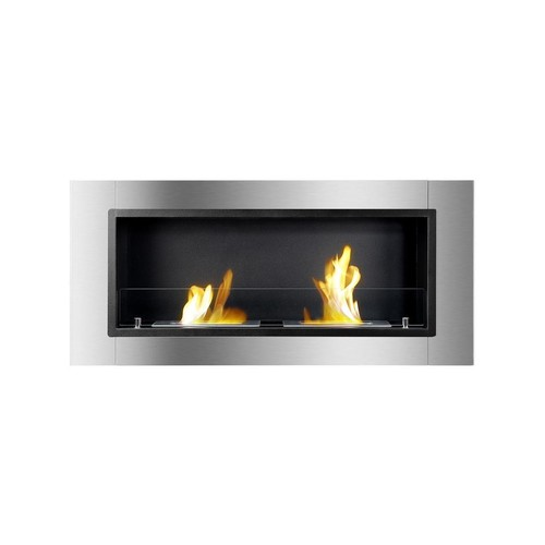 Ignis Lata Wall Mounted Recessed Ethanol Fireplace With Glass 43.25