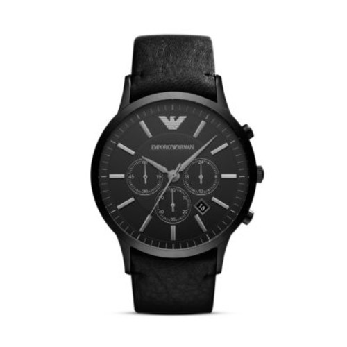 Black Leather Watch, 46mm