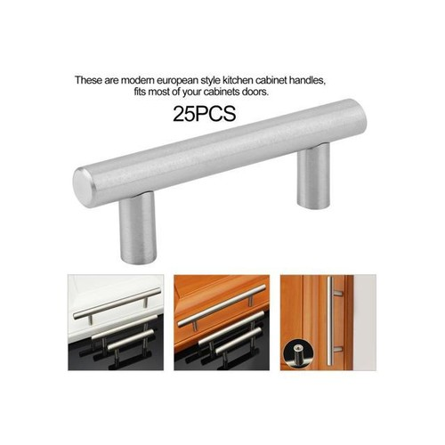 25PCS 4Inch Stainless Steel Cabinet Cupboard Door Straight Handles T Bar Pulls silver