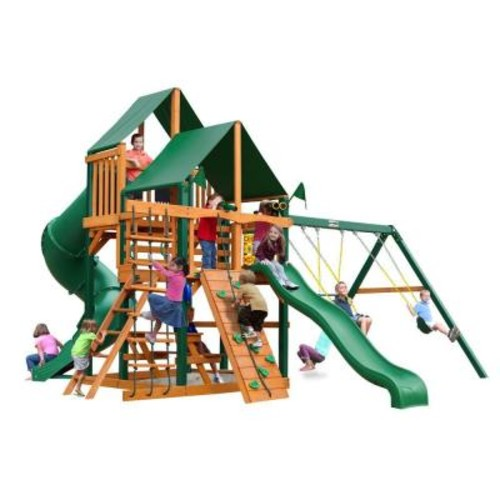 Gorilla Playsets Great Skye I with Timber Shield and Sunbrella Canvas Forest Green Canopy Cedar Playset