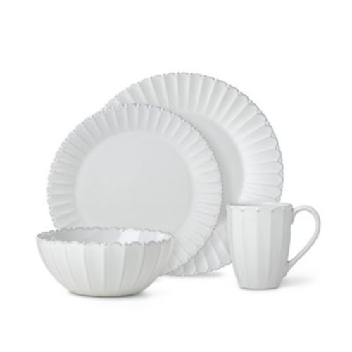 Lenox French Carved Bead 16-Piece Dinnerware Set in White