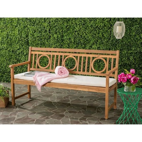 Safavieh Montclair Outdoor 3 Seat Acacia Patio Bench with Beige Cushions