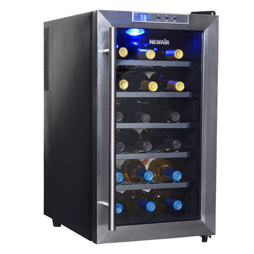 Air AW-181E 18 Bottle Thermoelectric Wine Cooler, Black [Black]