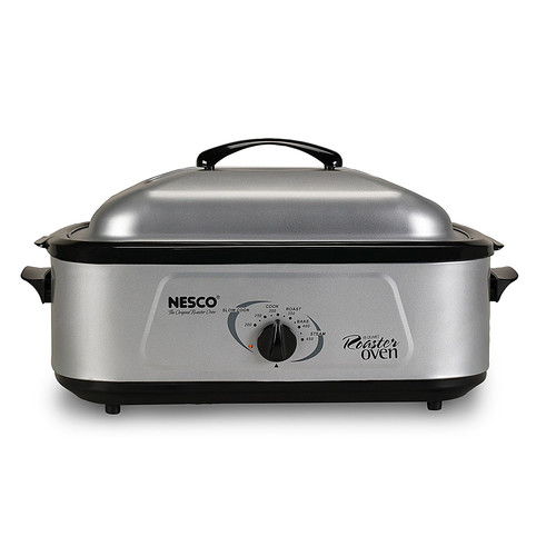 Nesco 4818-25PR 18 Qt. Professional Roaster Oven- Stainless Steel - Porcelain Cookwell