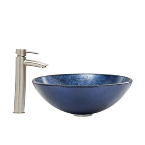 Vigo Indigo Eclipse Vessel Sink and Shadow Faucet Set in Brushed Nickel