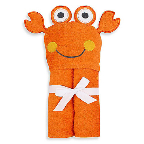 Just Bath by Just Born Love to Bathe Woven Crab Hooded Towel in Orange