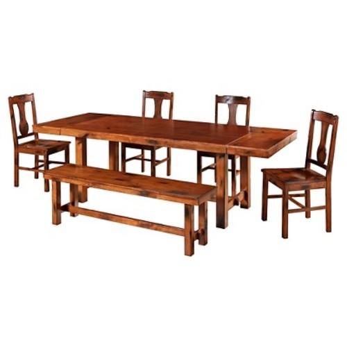 6pc Distressed Dark Oak Wood Dining Kitchen Set - Saracina Home