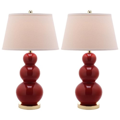 Amy Triple Gourd 1-light Red Table Lamps (Set of 2)