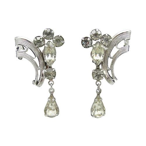 Filigree Rhinestone Teardrop Earrings
