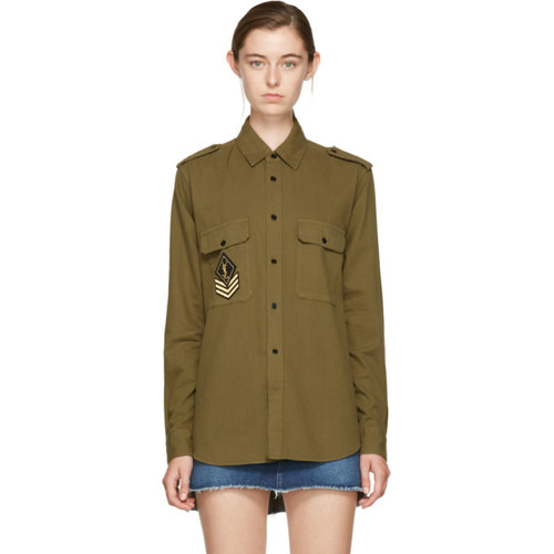 SAINT LAURENT Khaki Oversized Military Patch Shirt
