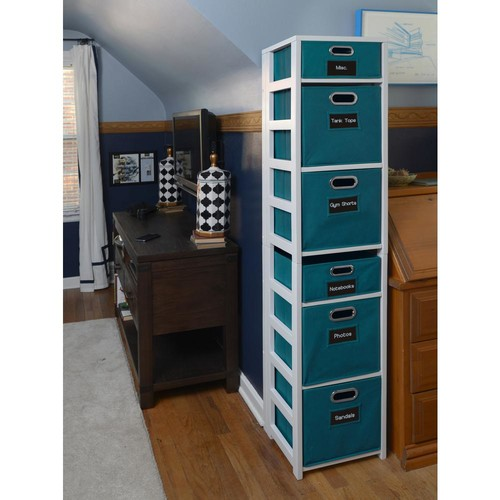 Niche Flip Flop White and Teal 6-Shelf Folding Bookcase and Storage Tote Set