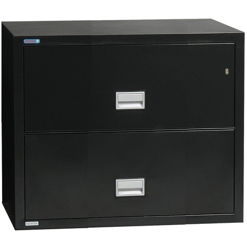Phoenix Lateral 31 inch 2-Drawer Fireproof File Cabinet - Black