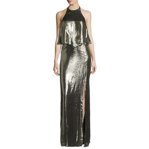 Halston Heritage Metallic Jersey Halter Popover Gown, Antique Brass