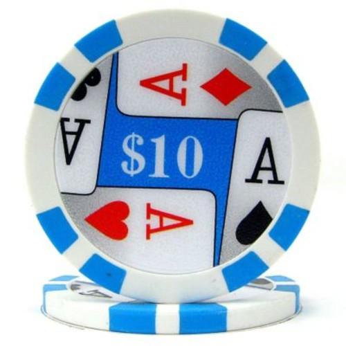 Trademark Poker 11.5g 4 Aces Premium $10 Poker Chips, Light Blue, 50/Set