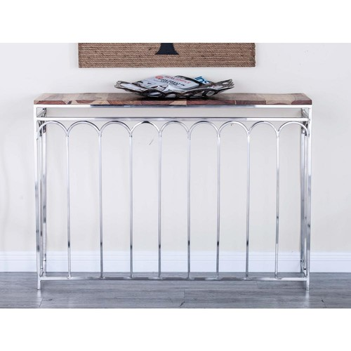 Modern Stainless Steel and Rosewood Nesting Console Tables (Set of 2)