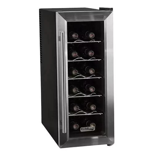 Koldfront TWR121 10 Inch Wide 12 Bottle Wine Cooler with Slim Fit and Thermoelectric Cooling