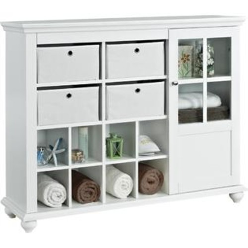 Altra Furniture Reese Park Storage Cabinet With 4 Fabric Bins & Glass Door, White Finish