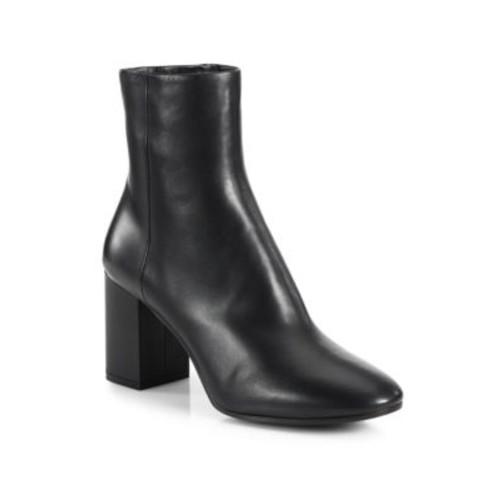 BALENCIAGA Leather Block Heel Booties