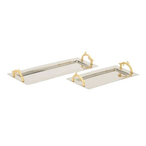 Enthralling (Set Of 2) Stainless Steel Aluminum Tray