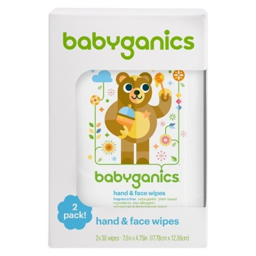 Babyganics Fragrance-Free Hand & Face Wipes - 60 ct