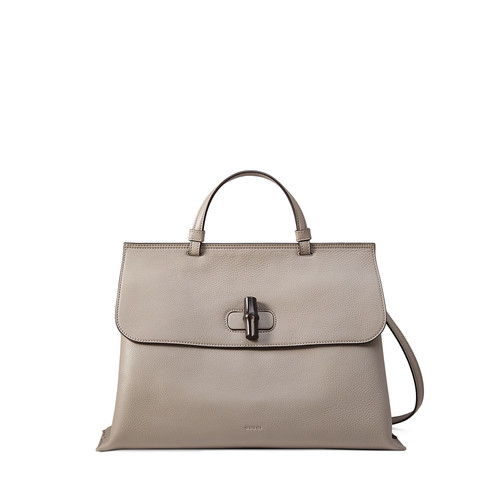 GUCCI Bamboo Daily Leather Top Handle Bag, Light Gray