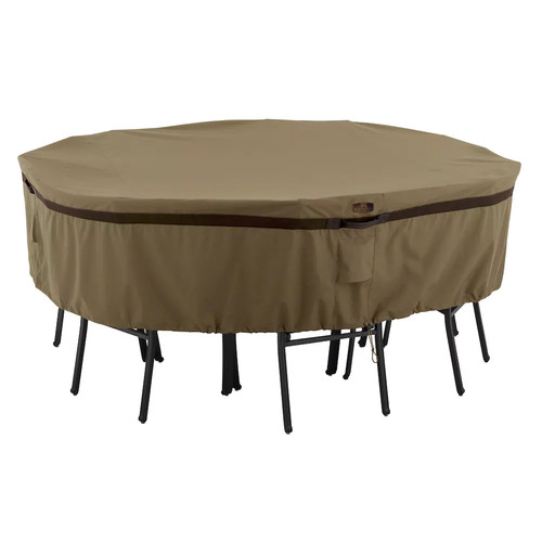 Classic Accessories Hickory Table and Chair Patio Furniture Storage Cover, Round, Large, Tan