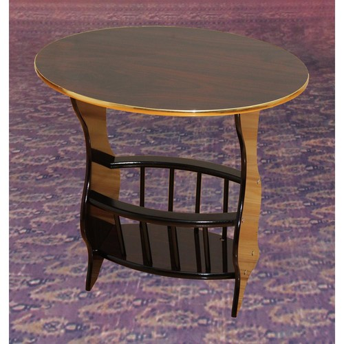 Uniquewise 24 in. x 15.8 in. x 22 in. Oval Side Table with Freestanding Magazine Holder, Espresso Brown Finish, Espresso Brown