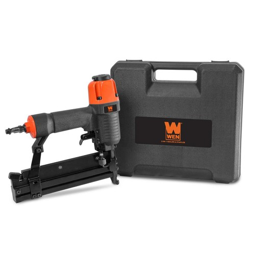 WEN 18-Gauge 2 in. 2-in-1 Pneumatic Brad Nailer and Stapler with Carrying Case and Safety Glasses