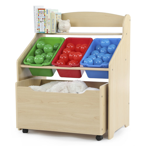 Tot Tutors Kids 3-Tier Storage Organizer with Rolling Toy Box, Natural/Primary