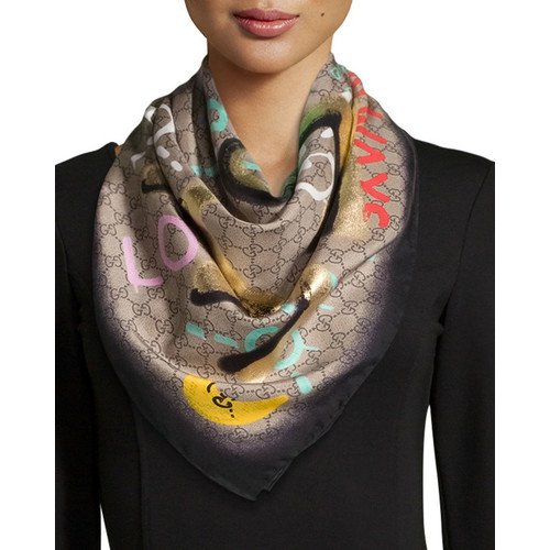 GUCCI Life Is  Square Silk Scarf, Multicolor