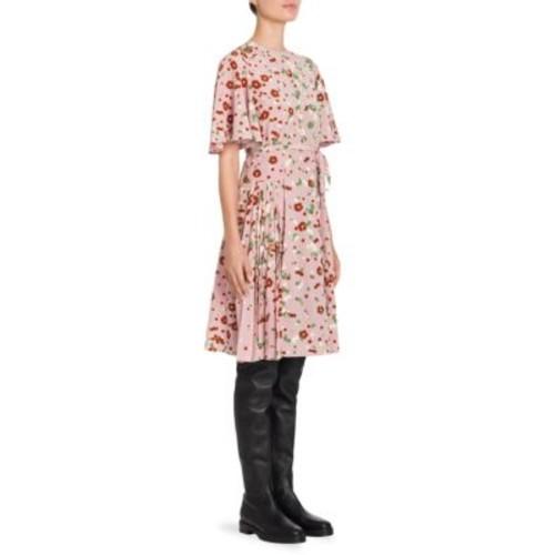 VALENTINO Flutter Sleeve Pleated Dasiy-Print Silk Dress