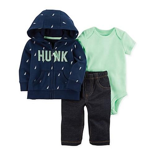 carter's Newborn 3-Piece Neon Little Jacket, Bodysuit, and Pant Set in Green/Blue