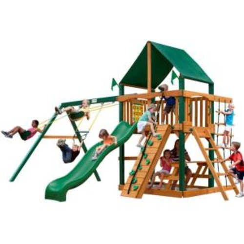 Gorilla Playsets Chateau with Timber Shield and Sunbrella Canvas Forest Green Canopy Cedar Playset