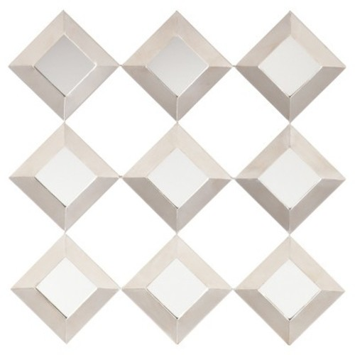 Massing Mirrored Squares Wall Sculpture - Mirrored with Antiqued Silver - Aiden Lane