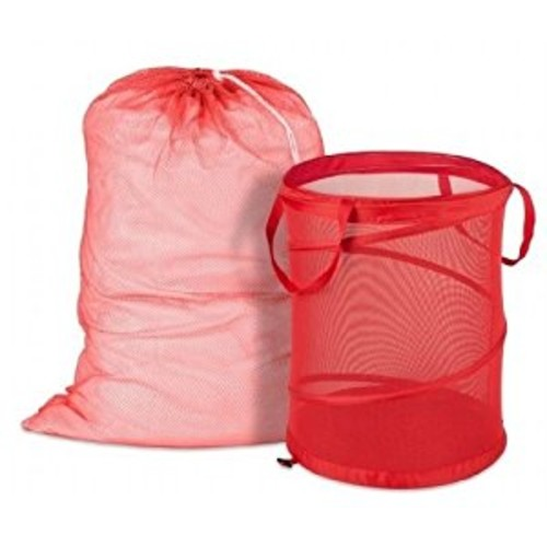 Honey-Can-Do Red Mesh Laundry Bag & Hamper Kit