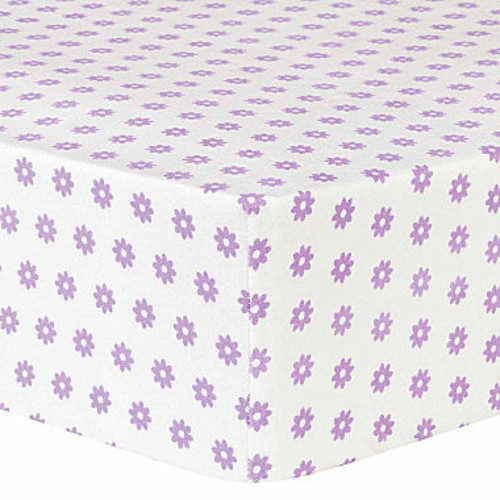 Trend Lab Lilac Flower Flannel Crib Sheet